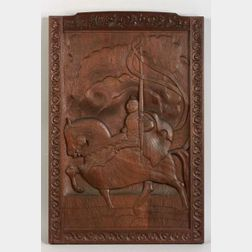 Arts and Crafts Carved Wooden Medieval Horseman Plaque.