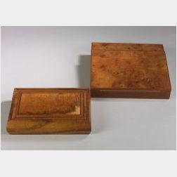 Wooden Figural Lap Desk and a Rectangular Box