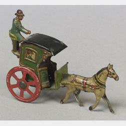 Meier Lithographed Tin Horse Drawn Hansom Cab Penny Toy