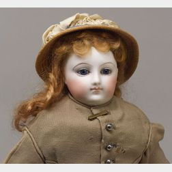 French Bisque Swivel Neck Lady Doll with Kid-over-Wood Body