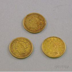 Three U.S. 2 1/2 Dollar Gold Liberty Quarter Eagle Coronets