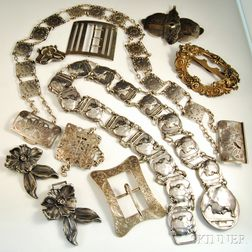 Group of Mostly Art Nouveau Sterling Silver Belts and Belt Buckles