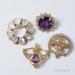 Four 14kt Gold Brooches