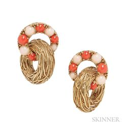18kt Gold and Coral Earclips, Pomellato