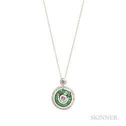 Diamond and Tsavorite Garnet Pendant