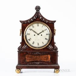 English Carved Mahogany Mantel Clock