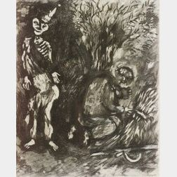 Marc Chagall (Russian/French, 1887-1985)  Plate from LES FABLES DE LA FONTAINE, 1952, total edition of 200 (Cramer, 22).  Signed...