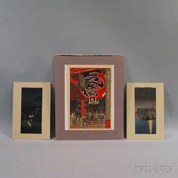Three Modern Woodblock Prints:      Shiro Kasamatsu (Japanese, 1898-1991), Kannon Temple at Asakusa, Tokyo