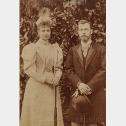 Albumen Print of Tsarevich Nicholas Alexandrovich and Princess Alix of Hesse