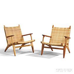 Pair of Hans Wegner CH27 Lounge Chairs