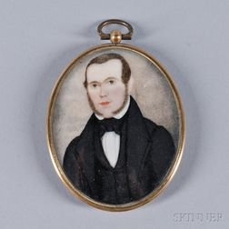 American School, Early 19th Century      Miniature Portrait of a Gentleman with Long Sideburns