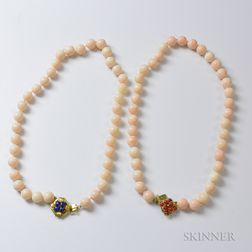 Two Angelskin Coral Bead Necklaces