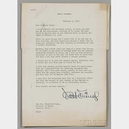 Disney, Walt (1901-1966) Typed Letter Signed 5 February 1952.