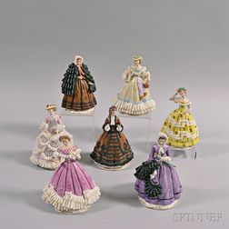 Set of Seven Sitzendorf Godey's Fashion Porcelain Figures