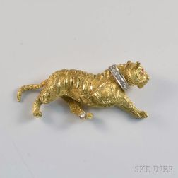 18kt Gold and Diamond Tiger Brooch
