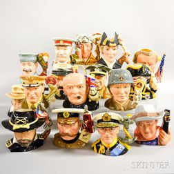 Sixteen Royal Doulton Ceramic Character Jugs