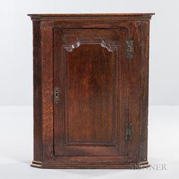 Georgian Oak Hanging Corner Cabinet