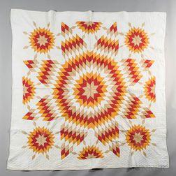 Hand-stitched Sunburst Pattern Quilt