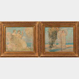Frank Vincent Dumond (American, 1865-1951)      Two Allegorical Studies