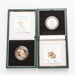 1990 and 1992 British Proof Double Sovereigns.     Estimate $1,000-1,200