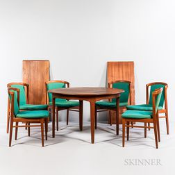 Henning Kjaernulf Round-to-Oval Dining Table and Six Erik Buch Dining Chairs