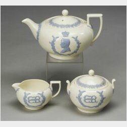 Wedgwood Three Piece Embossed Queen's Ware Commemorative Tea Set