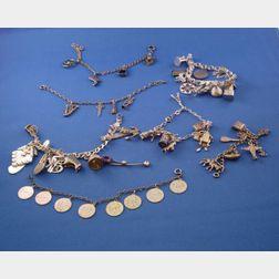Seven Silver Charm Bracelets