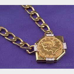 18kt Gold, Gold Coin, and Diamond Necklace, David Webb