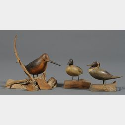 Three Carved and Painted Miniature Duck and Game Bird Figures