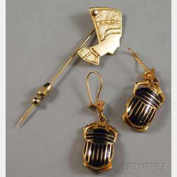 Two Egyptian Revival Gold Jewelry Items