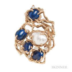 18kt Gold, Baroque South Sea Pearl, Lapis, and Diamond Brooch, Arthur King