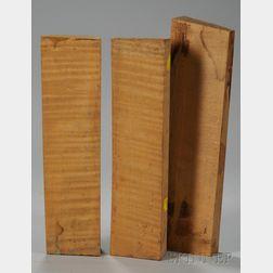 Three Quartersawn Maple Viola Neck Blocks.