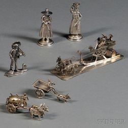 Six Miniature Silver Figures