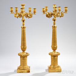 Pair of Empire Ormolu Six-light Candelabra