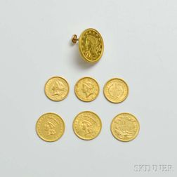 Six U.S. $1 Gold Coins and an 1857 $2.50 Gold Coin