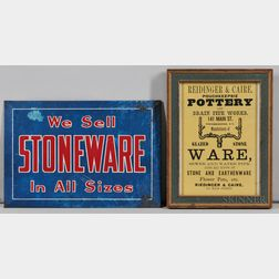 Two Small Stoneware Advertisements