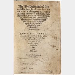 Vergil, Polydore (1470?-1555) An Abridgement of the Notable Woorke of Polidore Vergile.