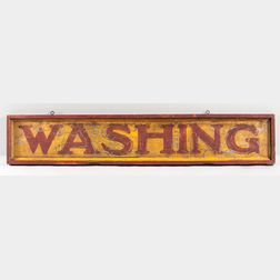 "Painted Tin and Wood ""WASHING"" Sign"