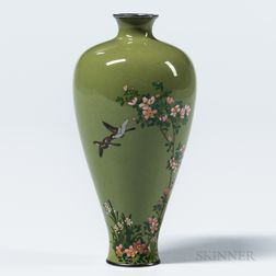 Small Olive Green Cloisonné Vase