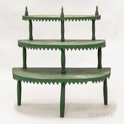 Green-painted Pine Three-tier Plant Stand