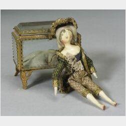 Small Grodnertal Wooden Doll in Fancy Dress with Jewel Case