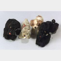 Four Small Steiff Mohair Dogs
