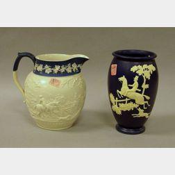 Wedgwood Salt Glazed Pitcher and Weller Pottery Cameo Vase.