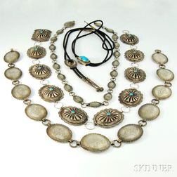 Group of Sterling Silver and Silver-plated Native American Accessories