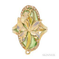 Art Nouveau 18kt Gold, Plique-a-jour Enamel, and Enamel Ring, Eugene Feuillatre