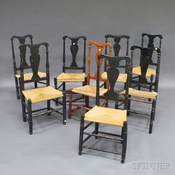 Eight Mostly Black-painted Country Queen Anne Yoke-back Side Chairs