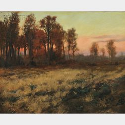 Charles Courtney Curran (American, 1861-1942)      Autumn Landscape at Dusk