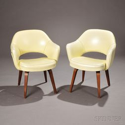 Pair of Eero Saarinen Synthetic Leather and Walnut Executive Armchairs