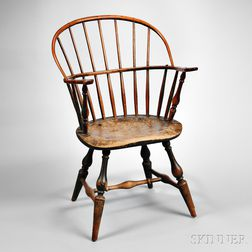 Green-painted Bow-back Windsor Armchair