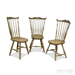 Three Painted Comb-back Windsor Side Chairs
